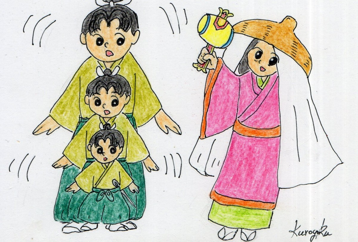 Ohimesama (lord's daughter) shakes the uchide no kazuchi (magic mallet) and Issun-boshi grows.