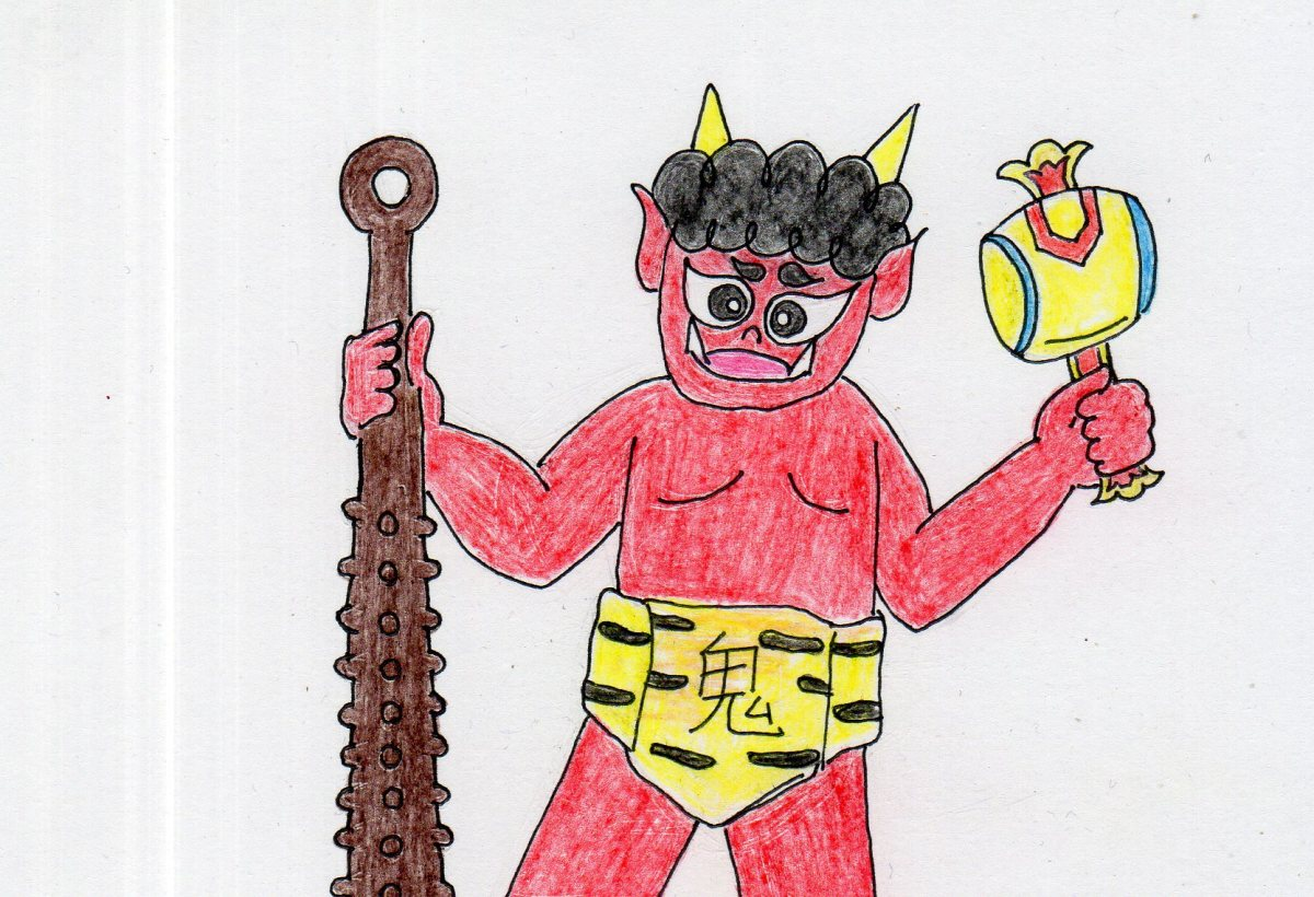 The oni is a demon that commonly appears in Japanese folktales. This one bears an uchide no kozuchi - a magic mallet.