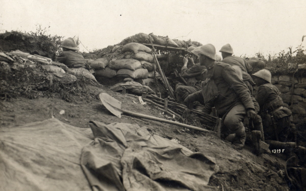 Italian machine gun position in World War I