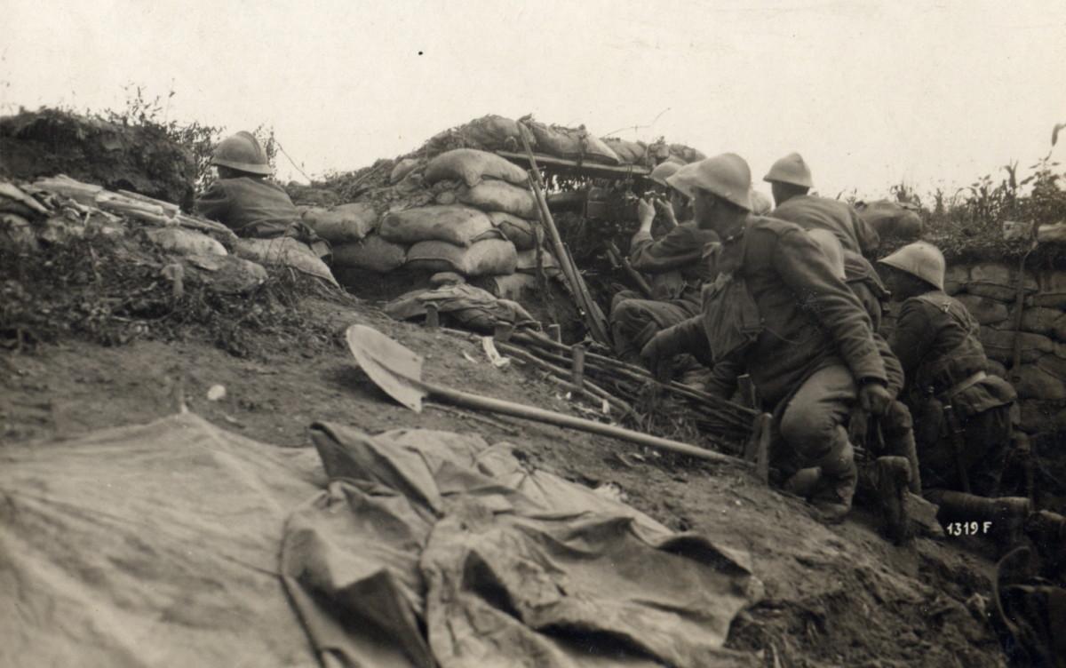 Italian machine gun position in World War I