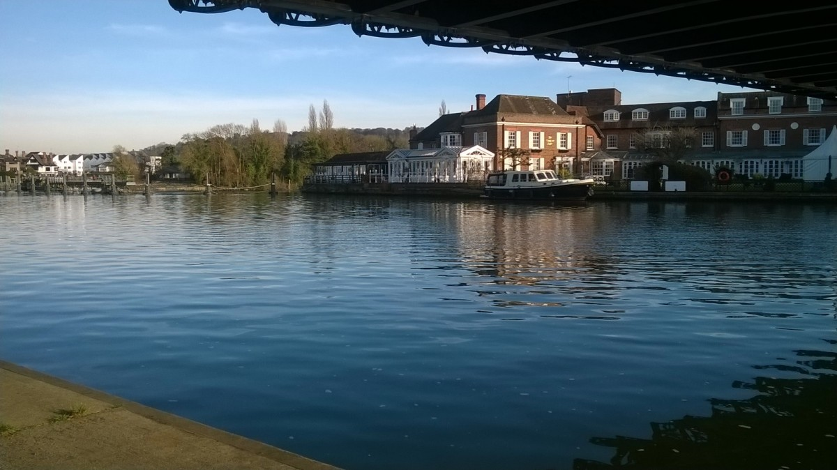 Under the Bridge - Across to the Compleat Angler  'Compleat' is the right spelling.