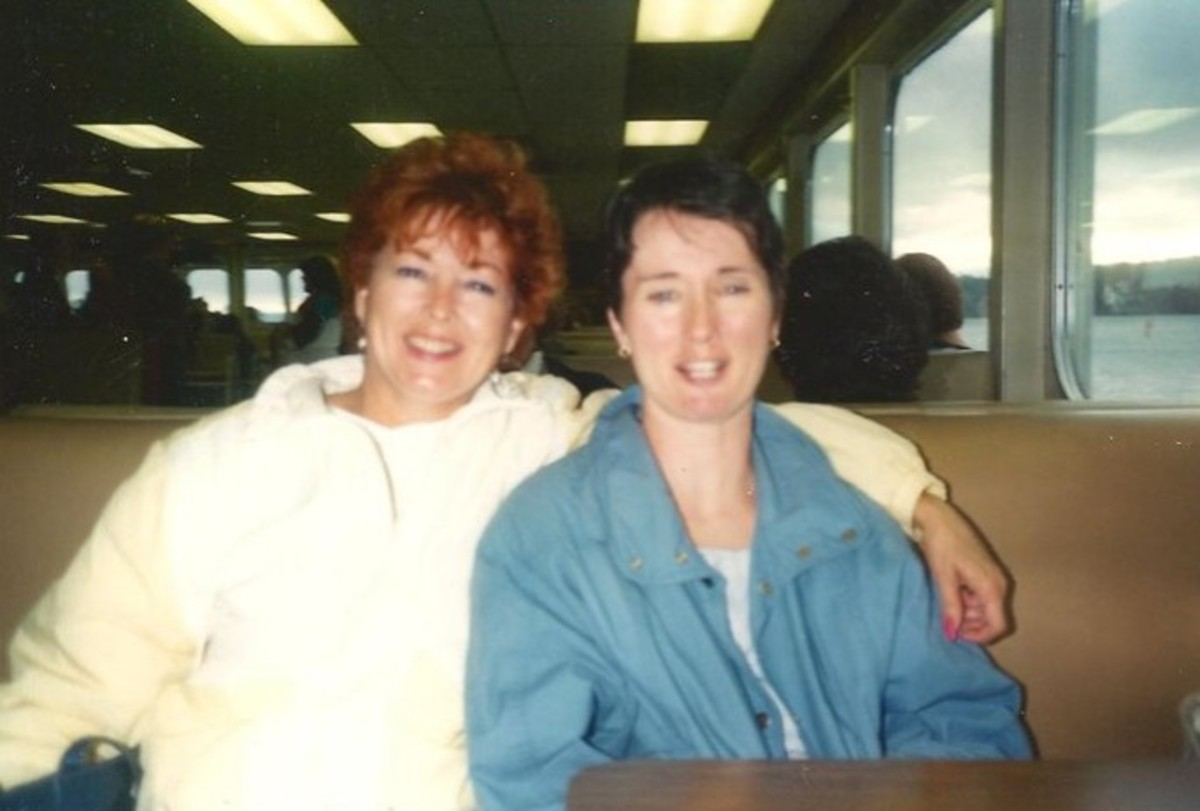 Mom and me on a ferry to Seattle many years ago.