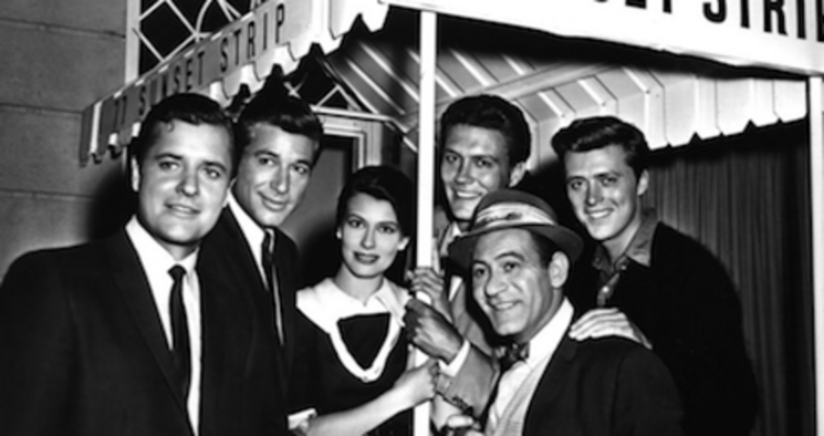 "(From left) Richard Long; Efrum Zimblast, Jr.; Jacquelyn Beer;  Roger Smith; Louis Quinn amd Edd ""Kookie"" Burns. Cast of 77 Sunset Strip."
