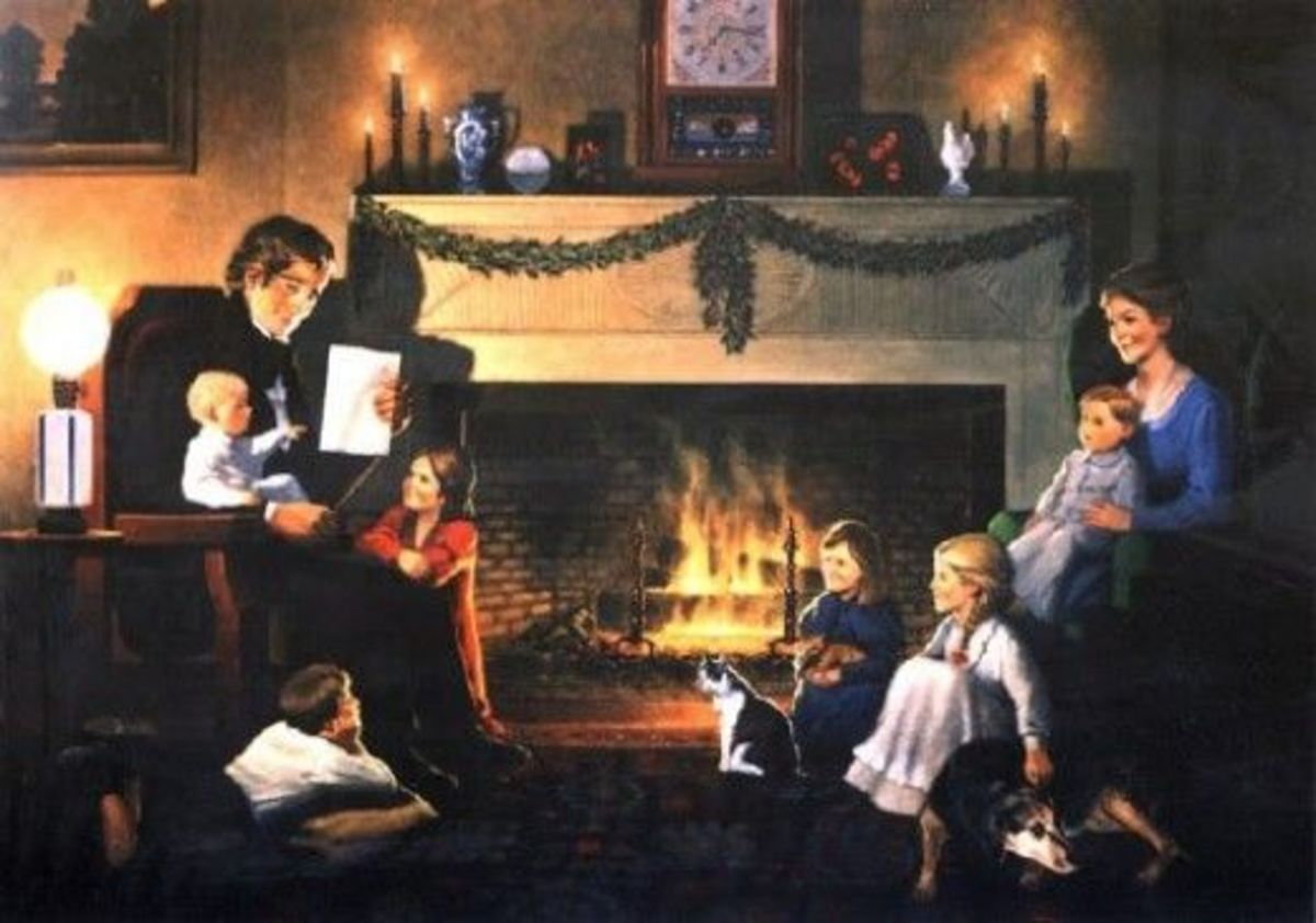 A family quietly-sits by a warm, cozy fireplace letting their lives be happy.