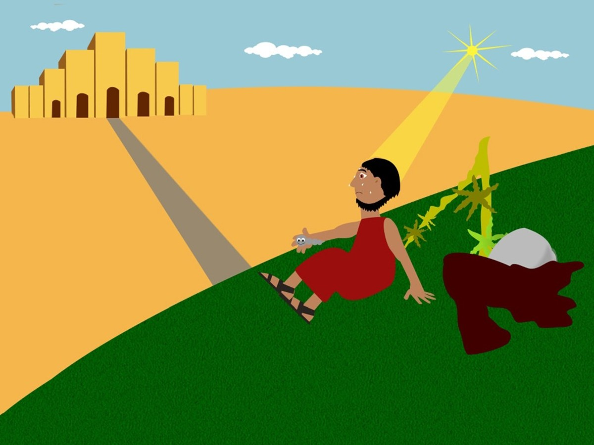 God sent a worm to eat up the bush while Jonah pouted to teach him a lesson.