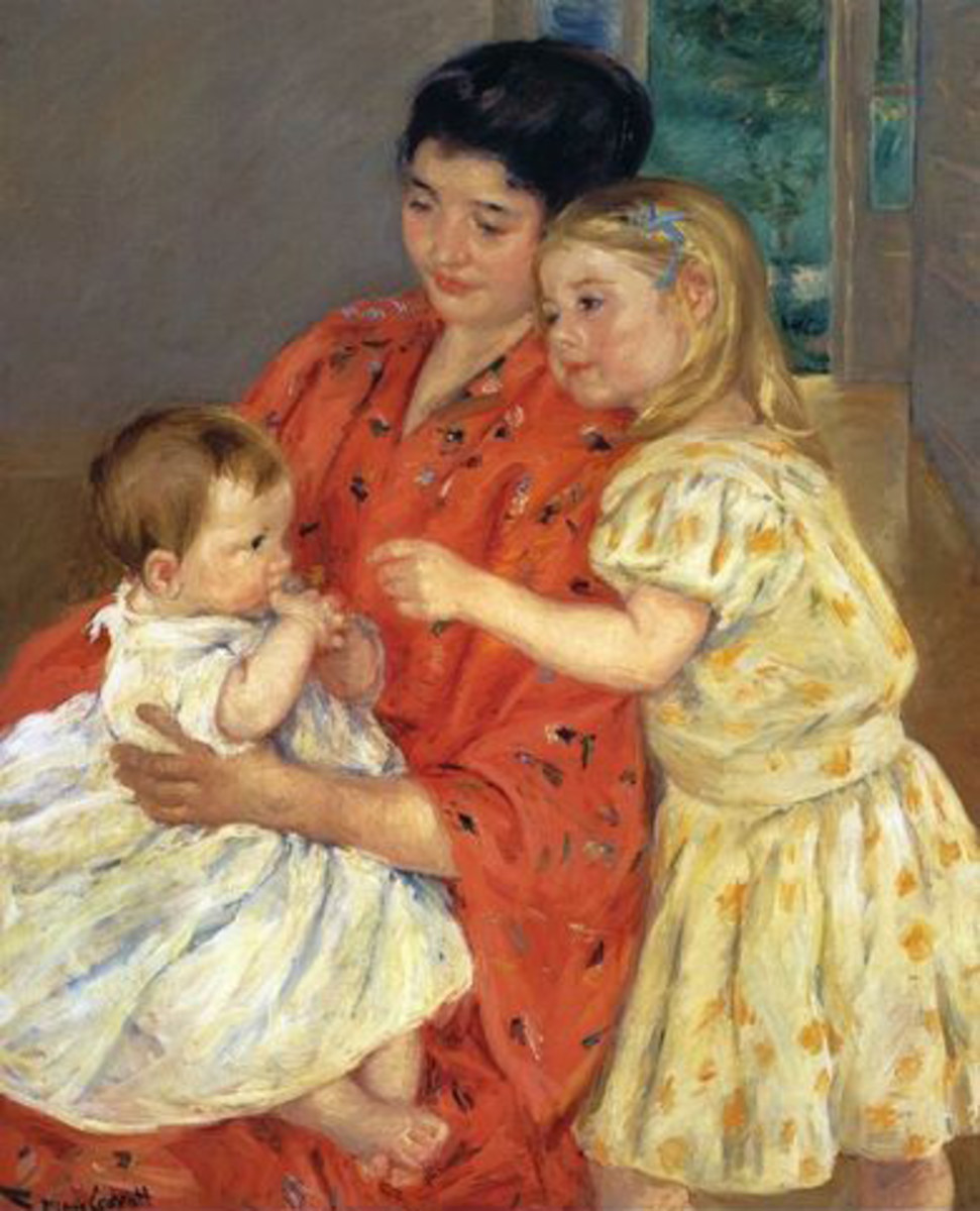 Mother and Sara Admiring the Baby by Cassatt
