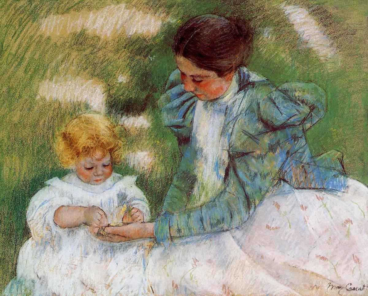Mother Playing with Her Child by Cassatt