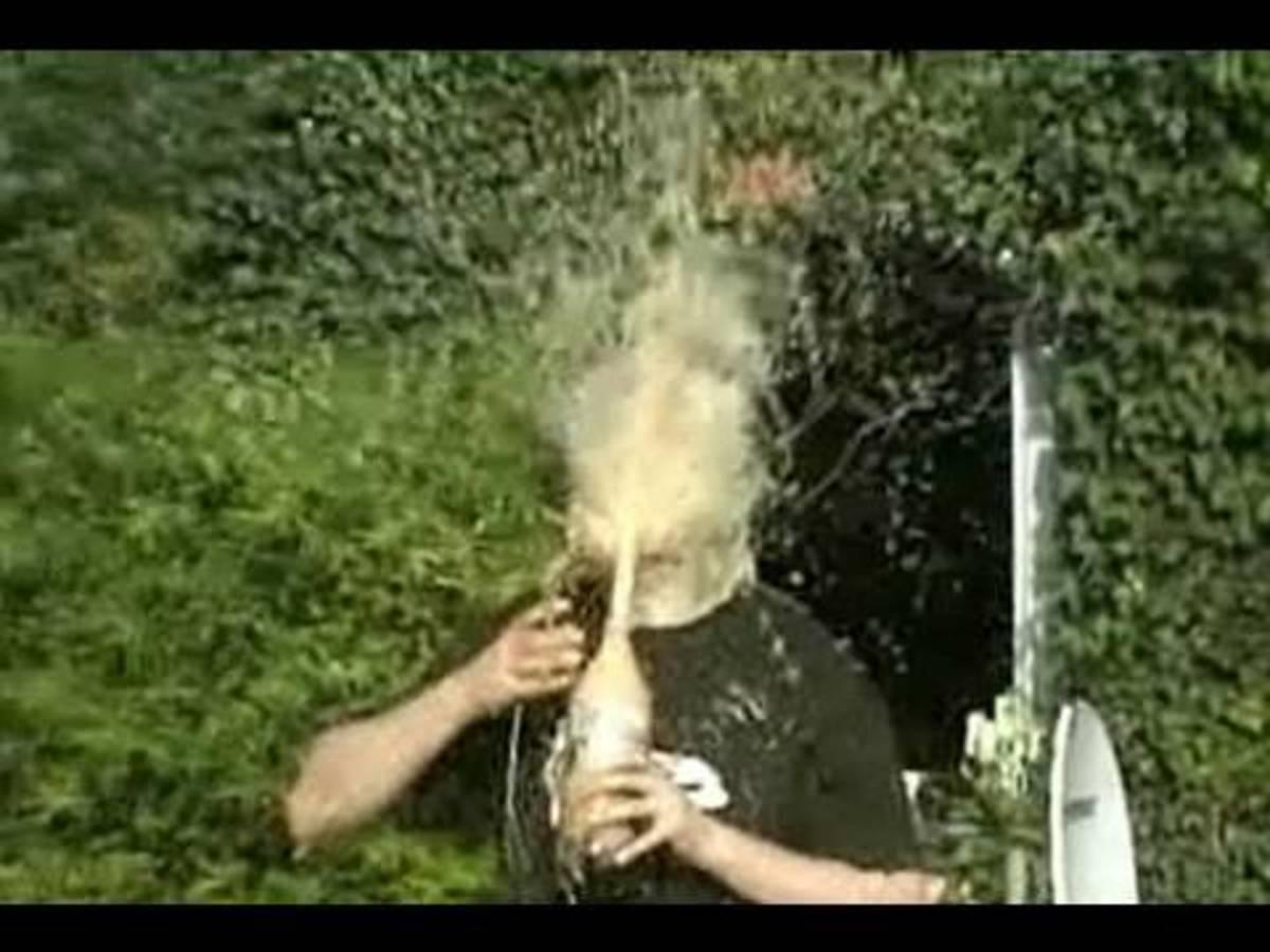 Good, clean exploding soda prank.