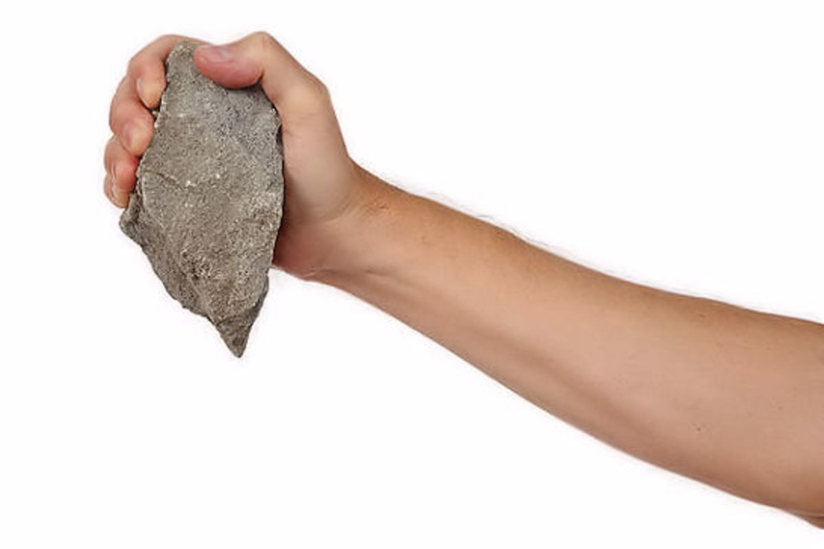 This rock fits conveniently in a man's hand!