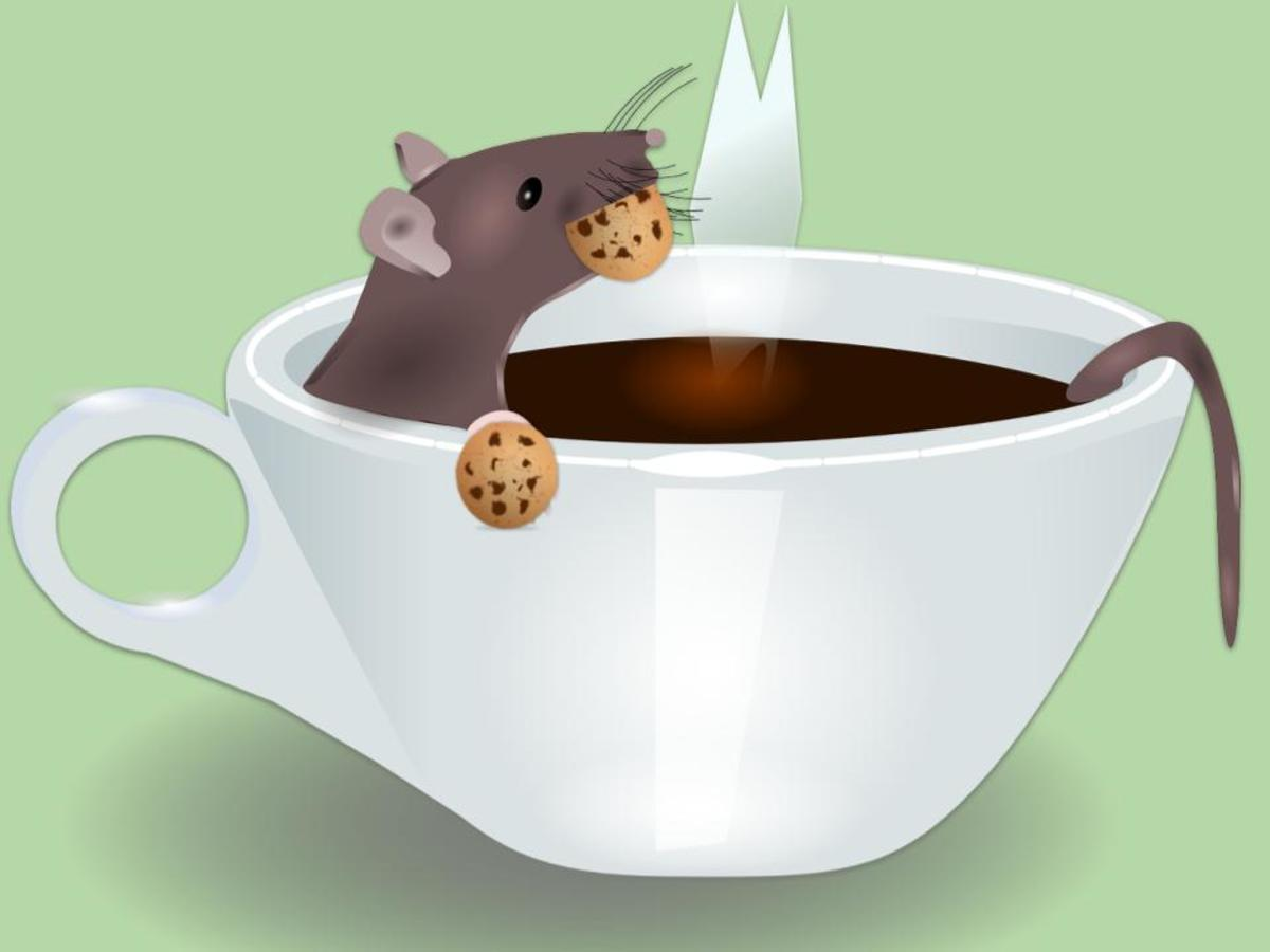 The mouse was relaxing in my tepid cup of java as if it were a jacuzzi munching on cookies again.