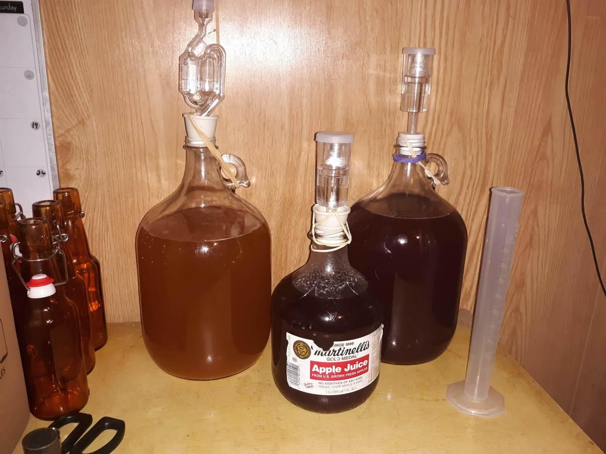Cider(Left), Grape Cherry & Cranberry wine(Center), Cranberry Cherry wine (Right)
