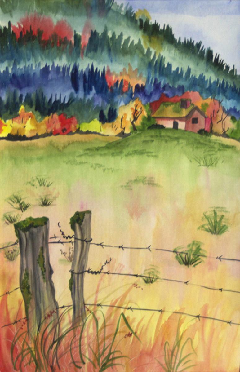 My watercolor cabin