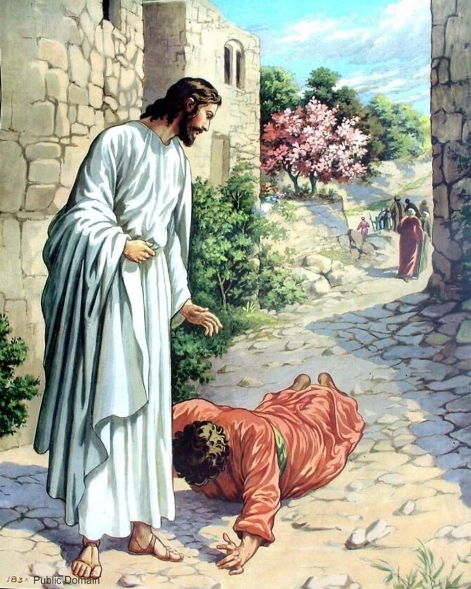 Jesus heals the lepers