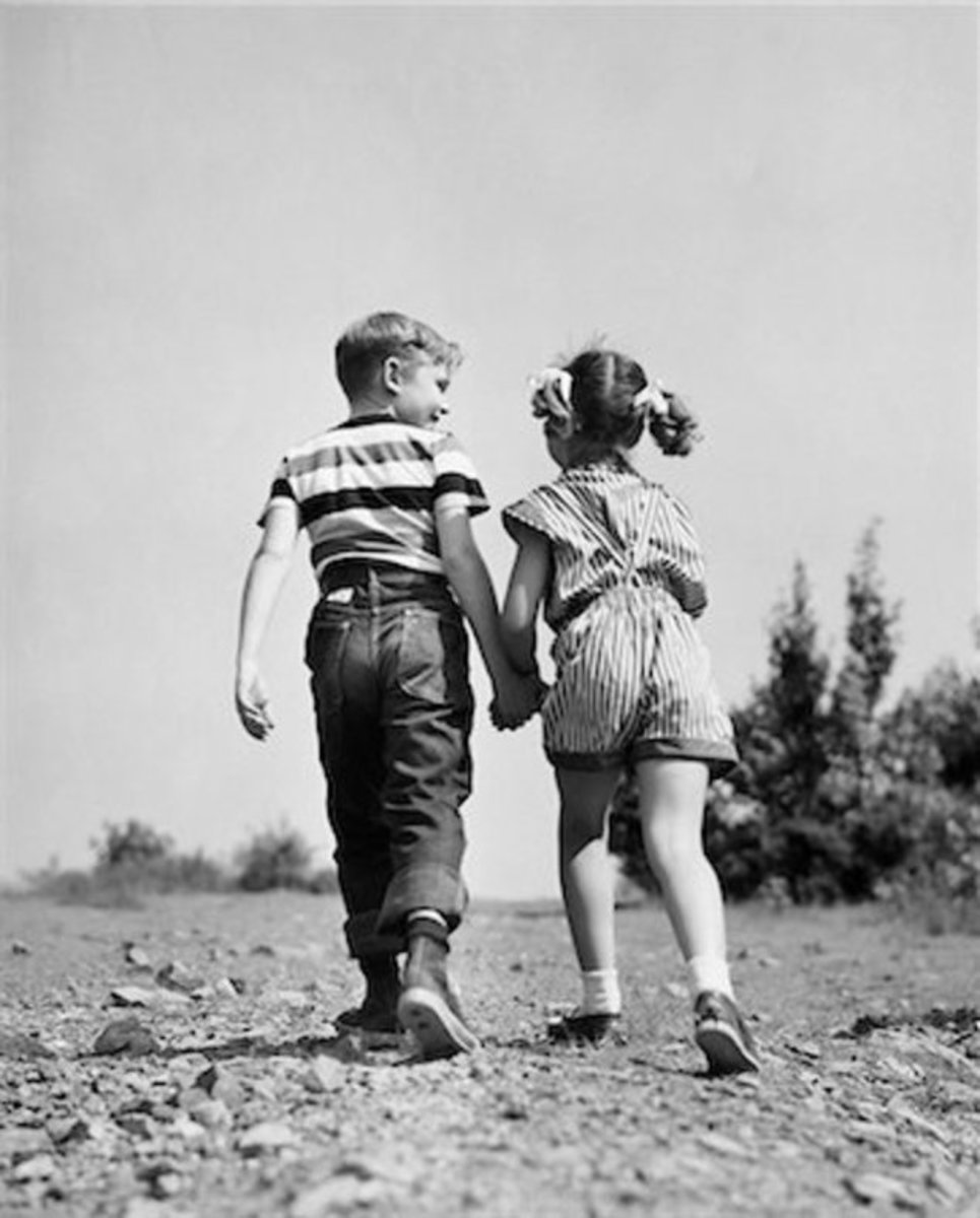 Kids holding hands 1960's