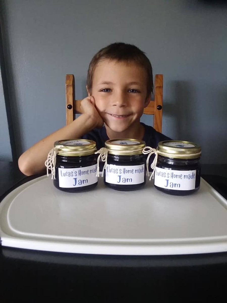 The Proud Moment Lucas with his Home Made Jam.