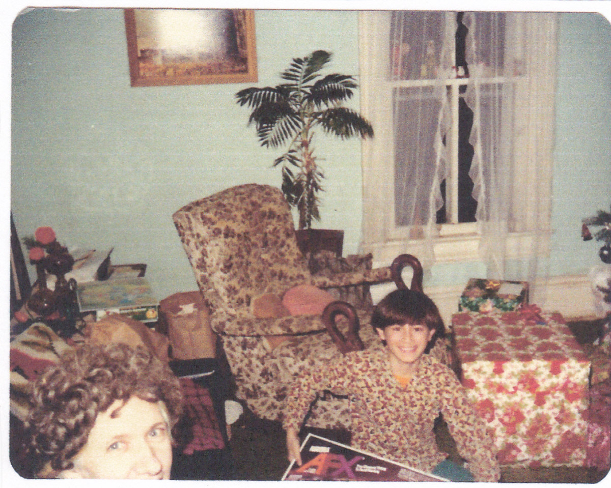 Adopted Son Mike and Mom.  Picture taken around Christmas 1979.