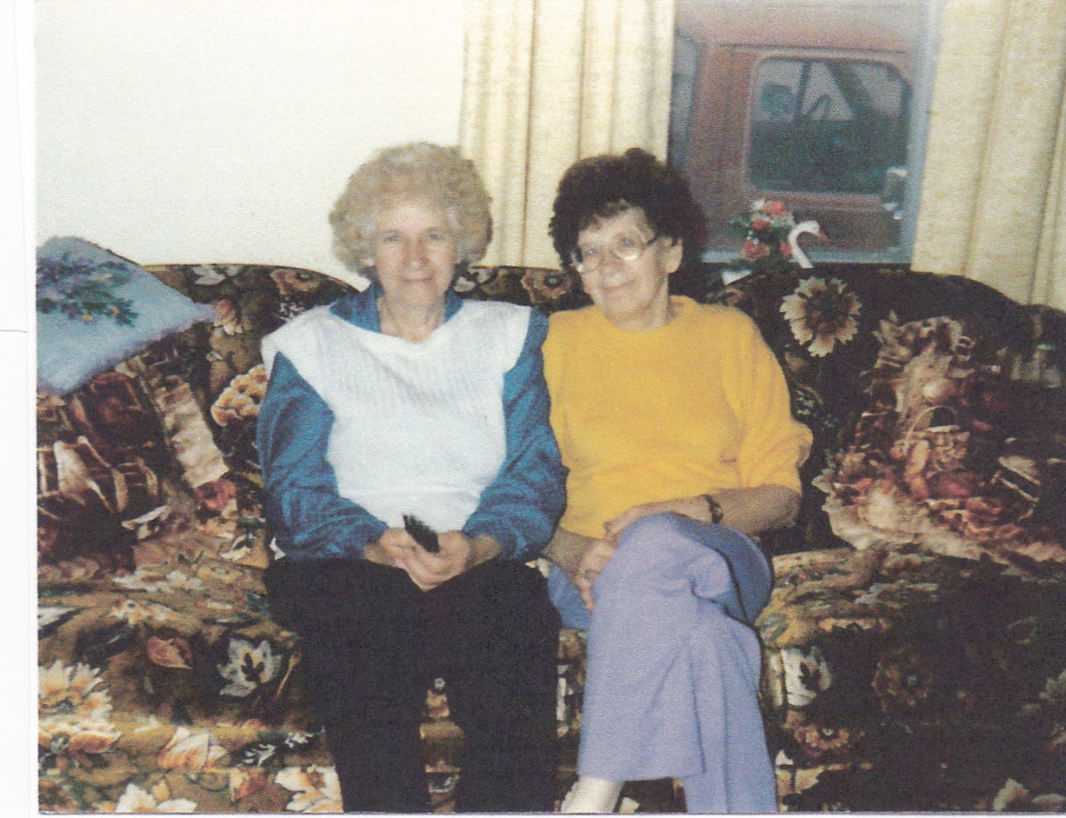 Mom on left and Aunt Sissy on the right.  Picture taken around 1986.