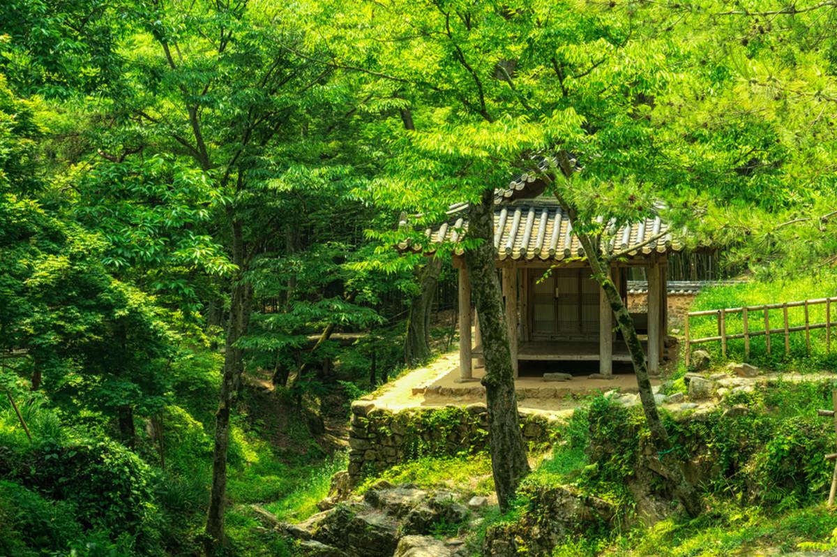 Traditional Korean temple house and pagoda.