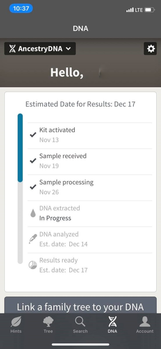Results process text message for AncestryDNA
