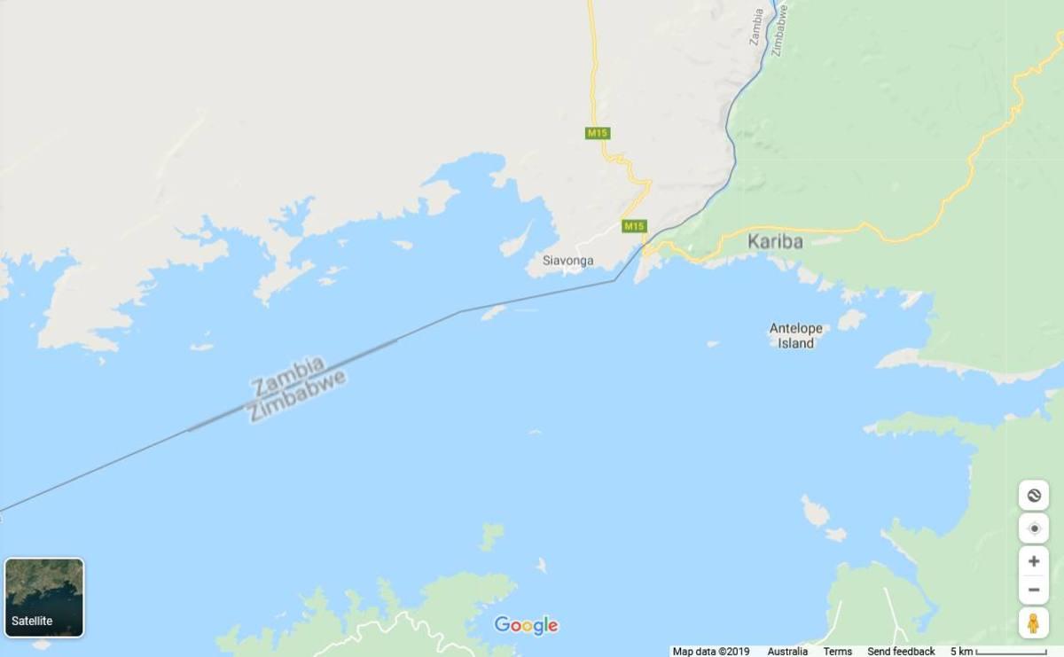 The Zambezi River, including Lake Kariba, forms part of the border between Zambia and Zimbabwe