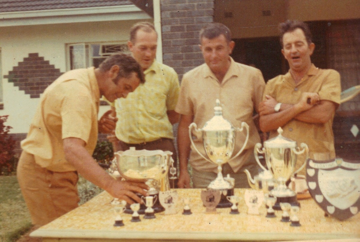 My dad and his mates and their haul of trophies one year.