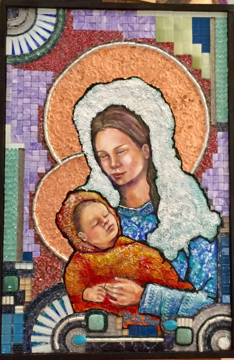 """Anabelle's attention is caught by the painting """"Madonna and Child"""" on the church wall"""
