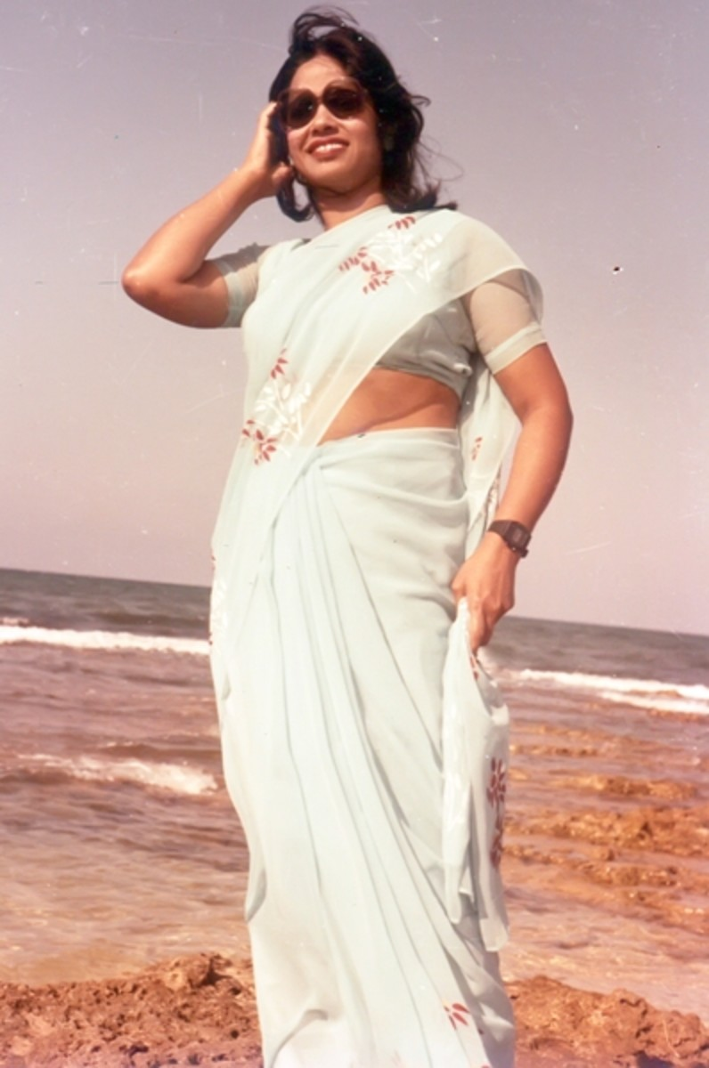 The Mystery Woman- My Mom Behind Our Dancing Getup & Makeup. Here She Is Posing on Rocks by the Wonderful Memorable Sea