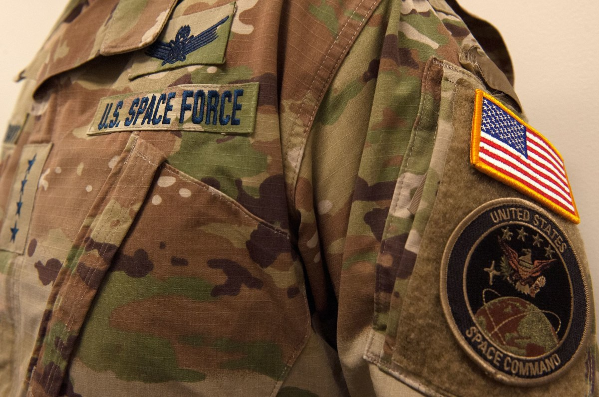 The United States Space Force general's utility uniform.