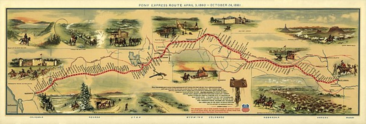 Illustrated Map of Pony Express Route in 1860 by William Henry Jackson ~ Courtesy the Library of Congress ~ The Pony Express mail route, April 3, 1860 – October 24, 1860
