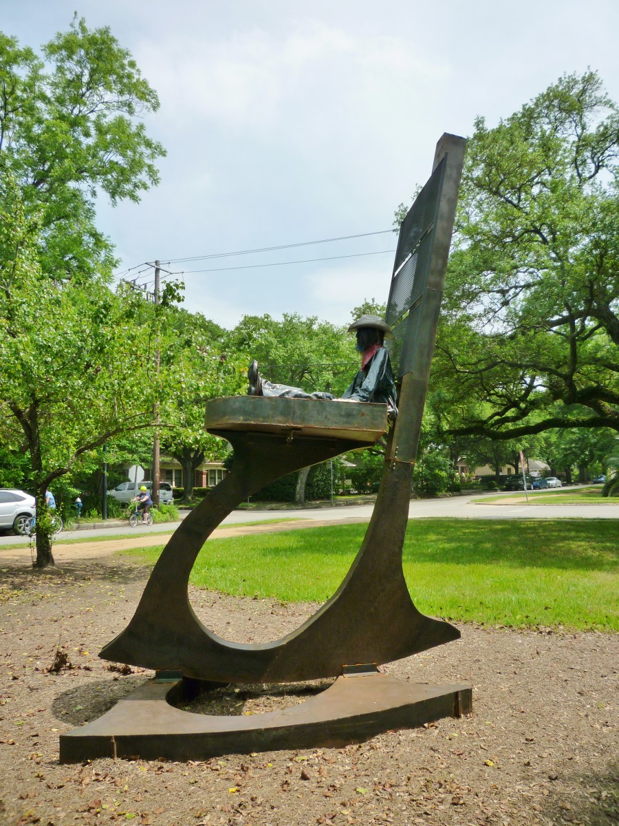 "Sculpture titled ""Retired Cowboy Clown"" by Hans Molzberger in True South sculpture exhibit Houston"
