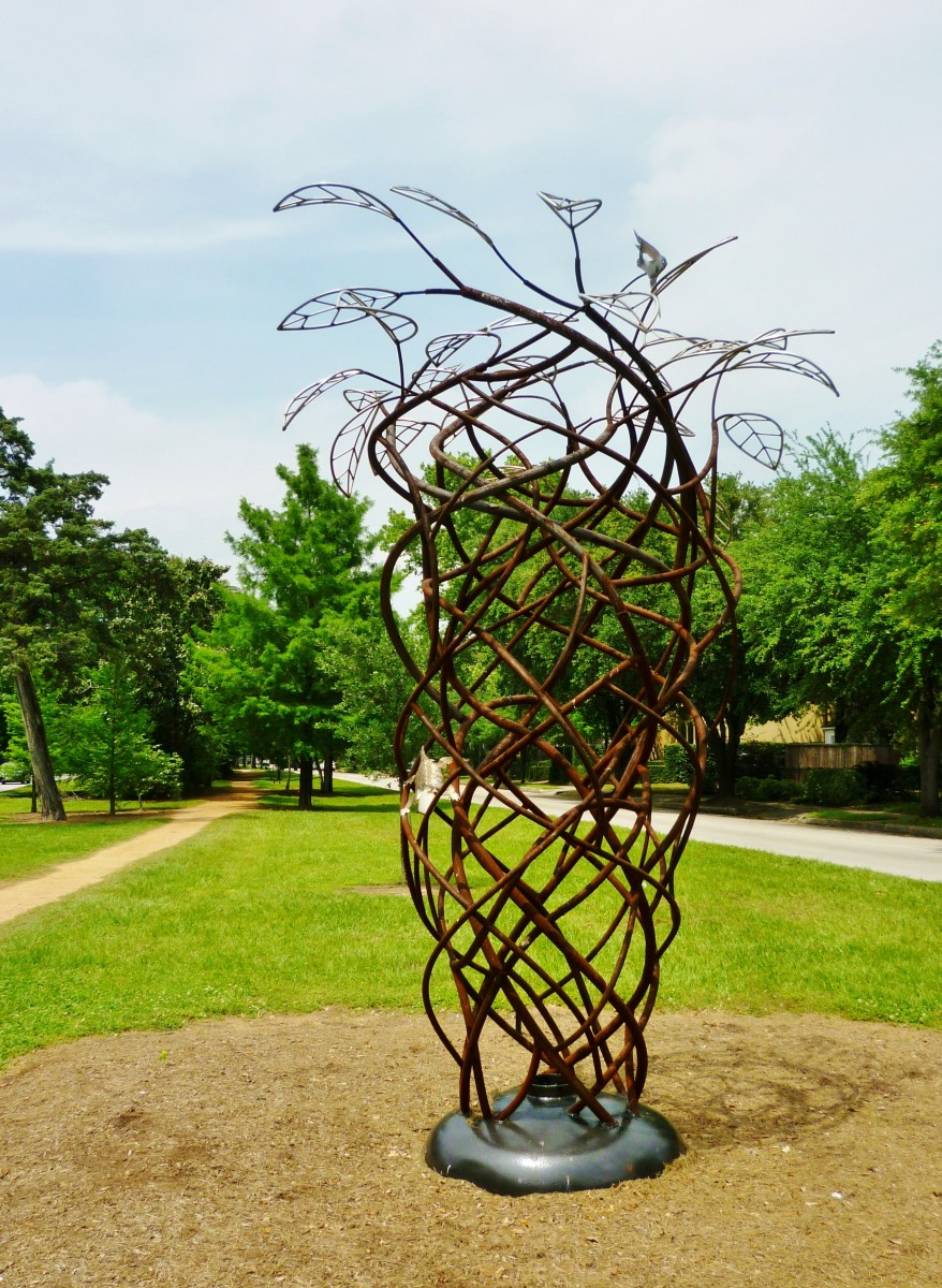 """Whirlwind"" sculpture by Tim Glover in True South sculpture exhibit Houston"