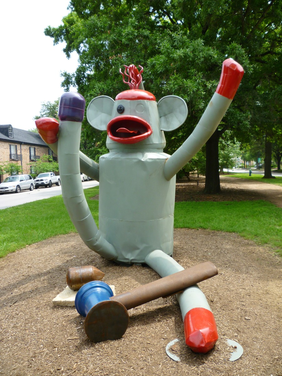 """Sock Monkey"" sculpture by Joe Barrington in True South sculpture exhibit Houston"