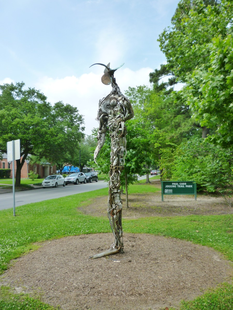 """Constant Gardener"" sculpture by Mark Bradford in True South sculpture exhibit Houston"