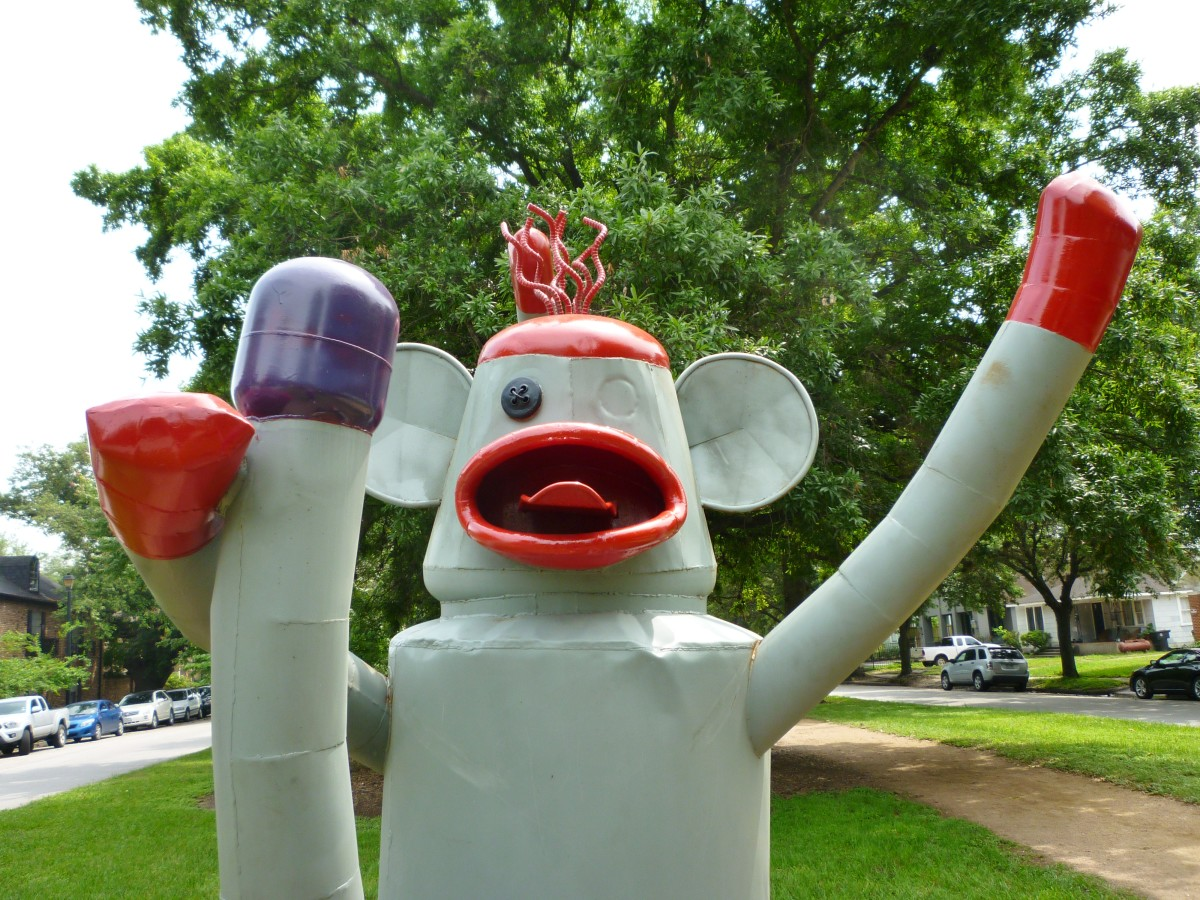 "Closeup of ""Sock Monkey"" sculpture by Joe Barrington in True South sculpture exhibit Houston"
