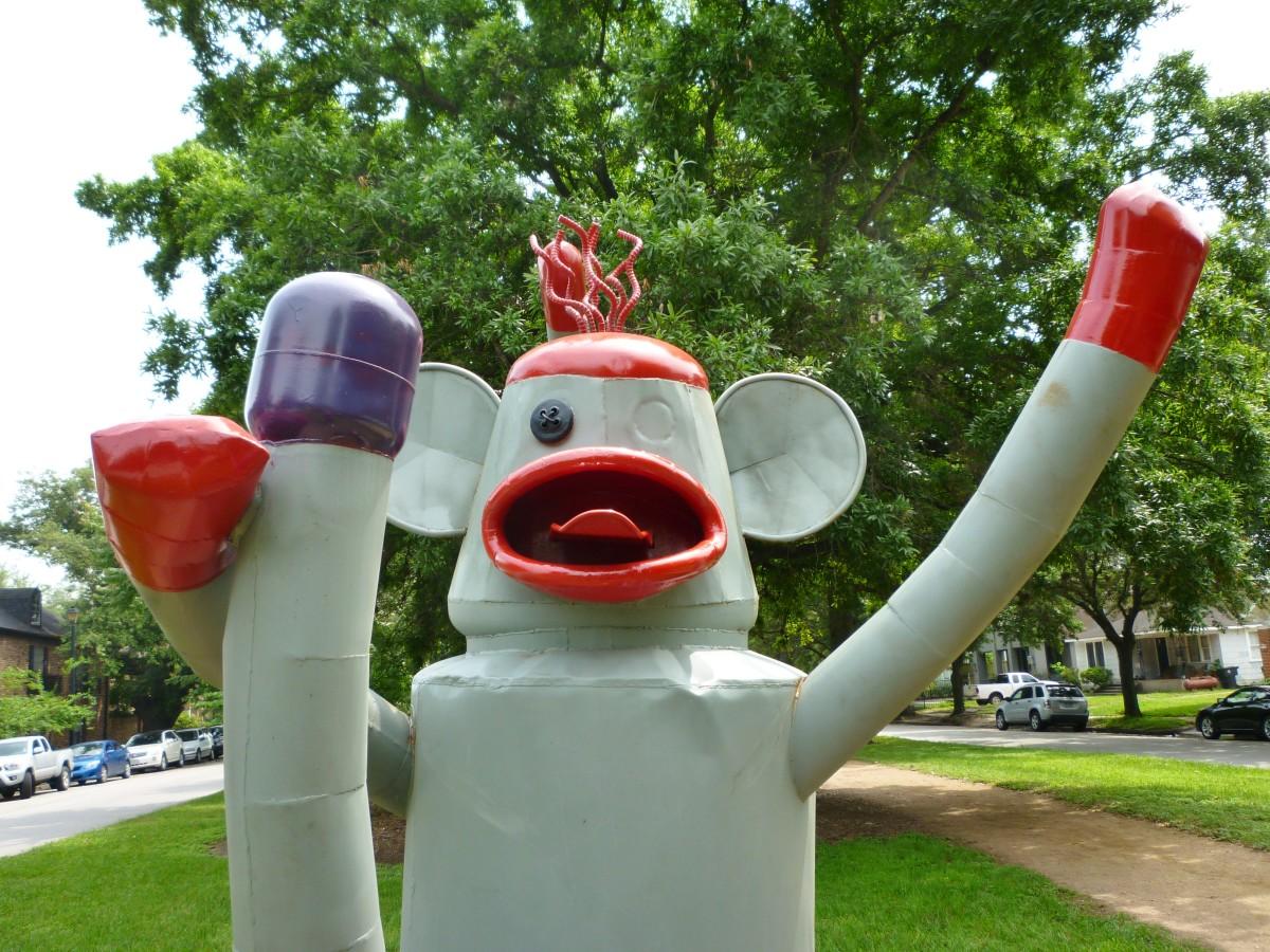"Closeup of ""Sock Monkey"" sculpture by Joe Barrington in True South sculpture exhibit Houston"