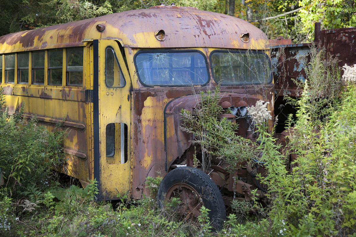 Old abandoned school bus--Charles Harden.
