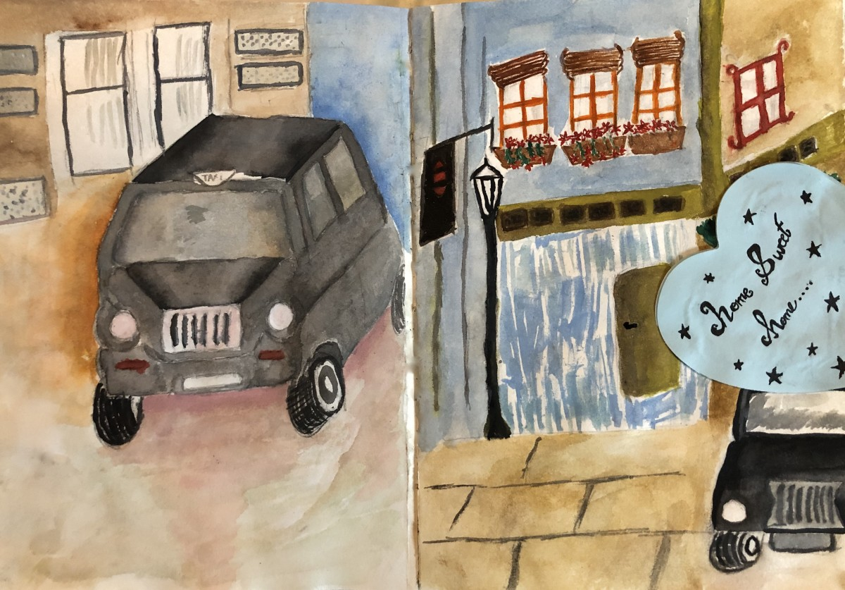 I took a black cab home without any money. On the left is a sketch of a black cab that I got into. On the right is a sketch of a cab taking me to my destination.