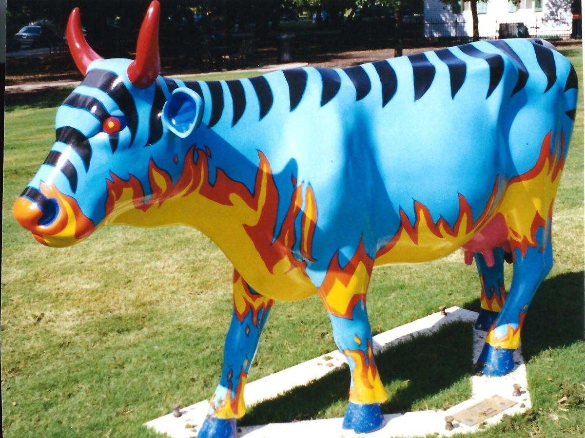 Flaming Cow by Pearland Junior High School