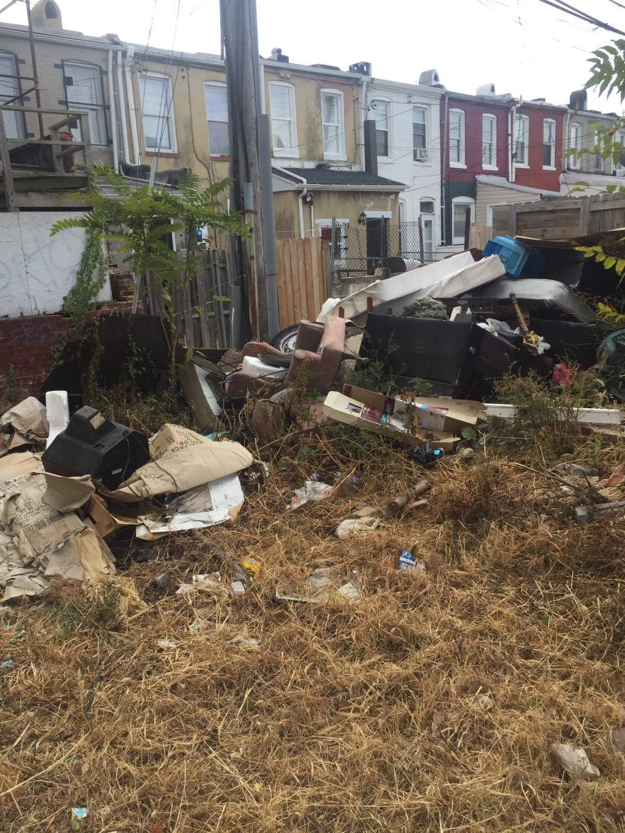 """A dumping hotspot in the lot of a demolished vacant house near """"dumping alley""""."""
