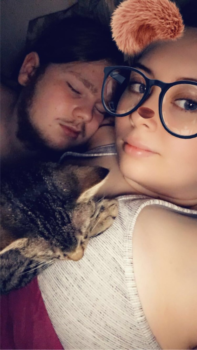 Early morning with him and our cat cuddling me