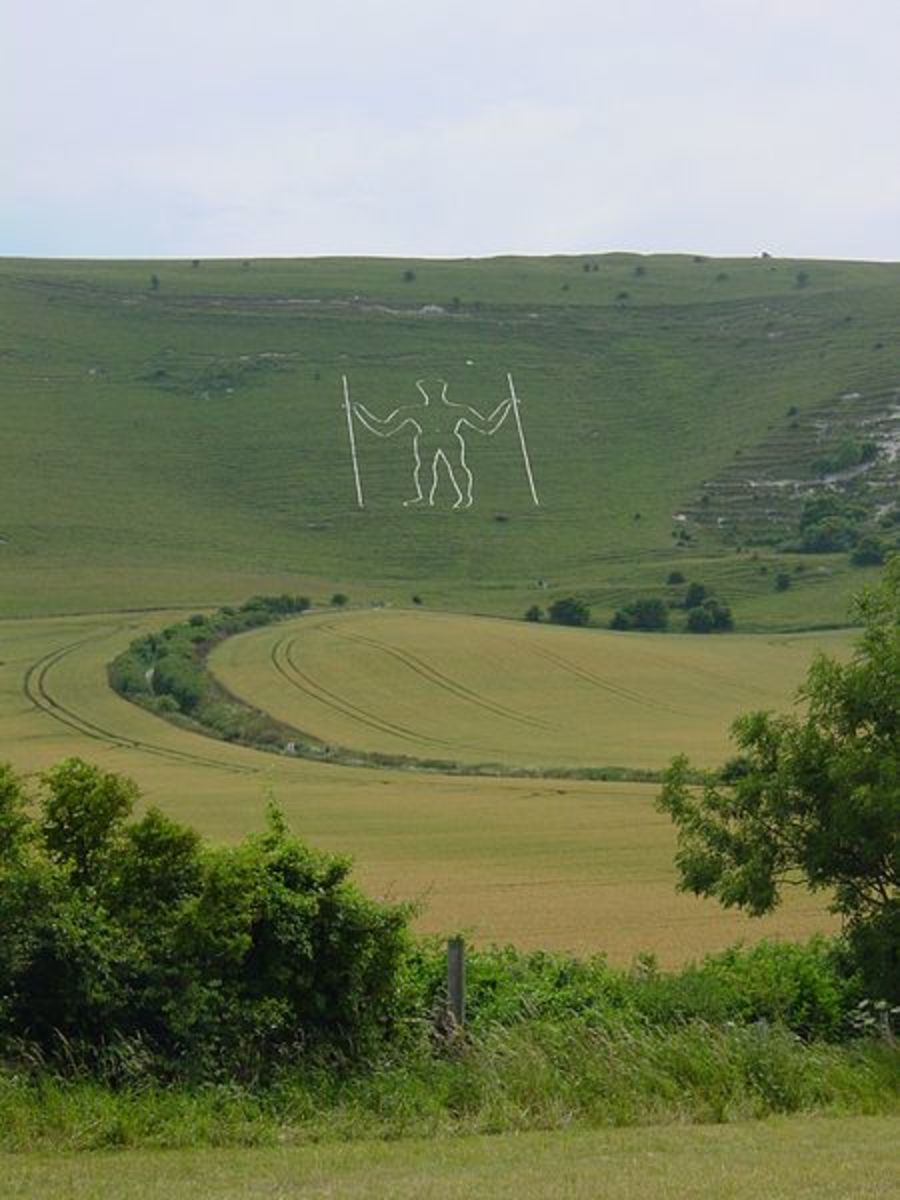 Long Man of Wilmington, on the North side of the South Downs, east of Brighton near Lewes