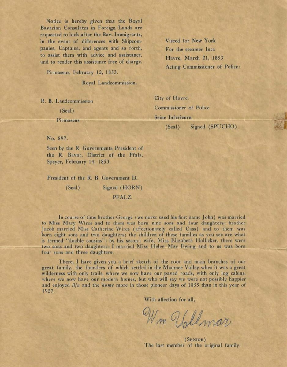William Vollmar's Letter page 2
