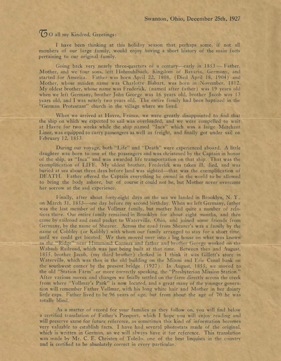 William Vollmar's Letter page 1