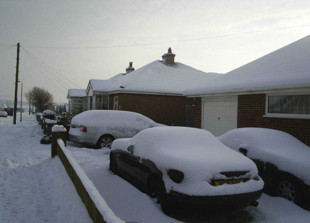 My snowy home in England