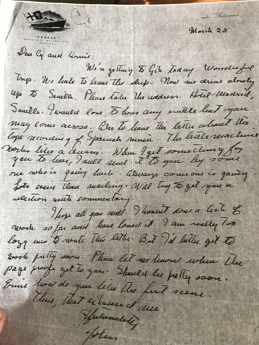 Copy of a handwritten letter from Steinbeck to Feuer and Martin