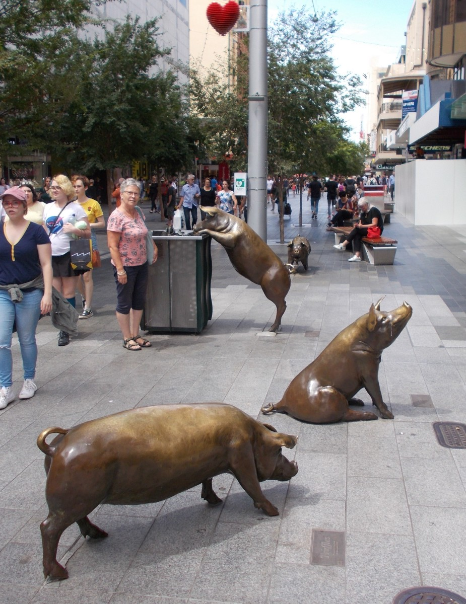 Marguerite Derricourt's 'Rundle Mall Pigs' in Adelaide shopping centre; Oliver, Horatio, Truffles & Augusta
