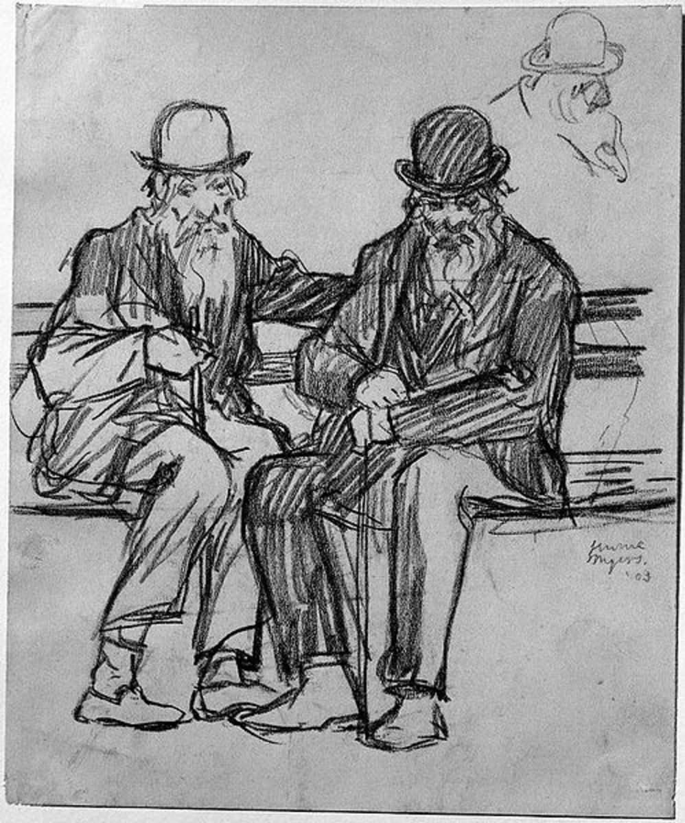 Charcoal drawing of a Study of Two Old Men.