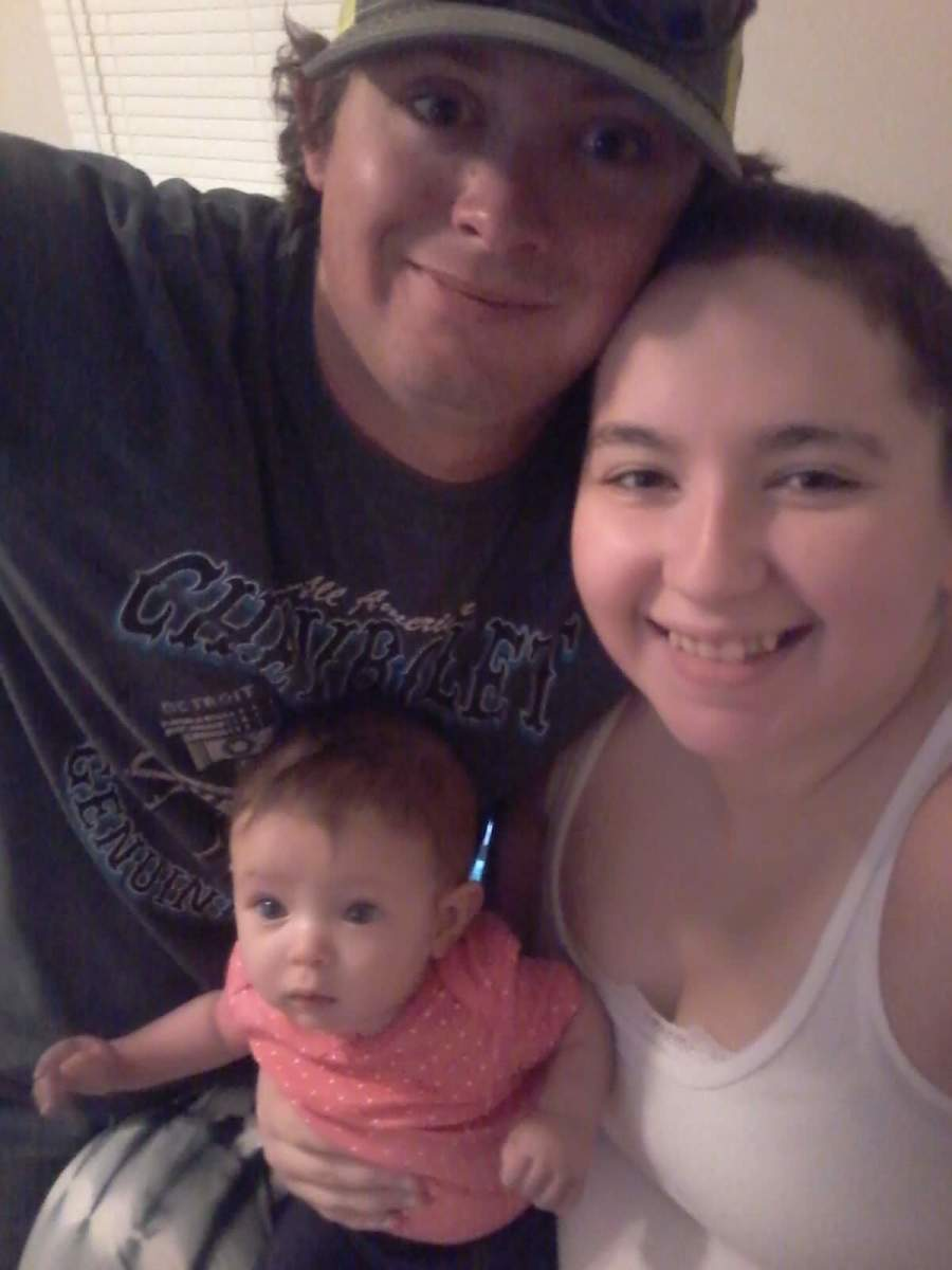 Happy little family. Husband, daughter, and myself.