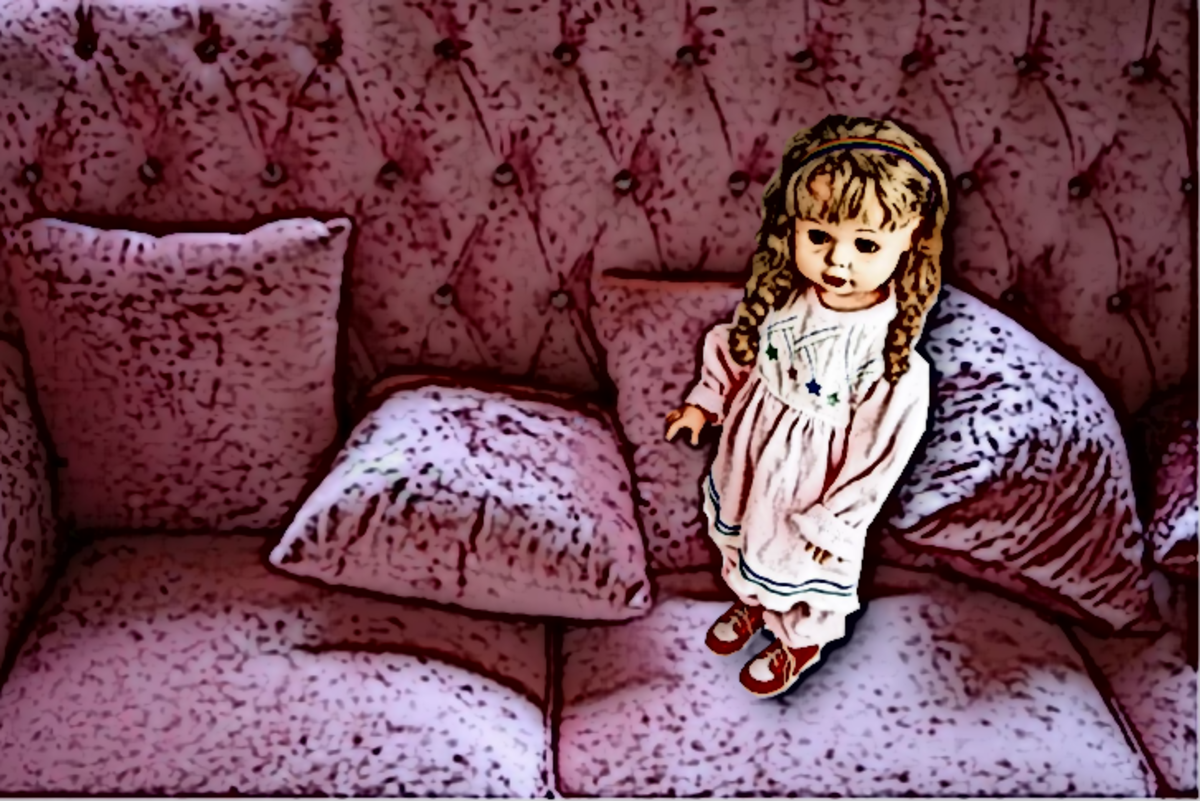 Miss Livingston belonged there. She was part of the room, and her sleepers matched the big, beautiful, pink living room couch.