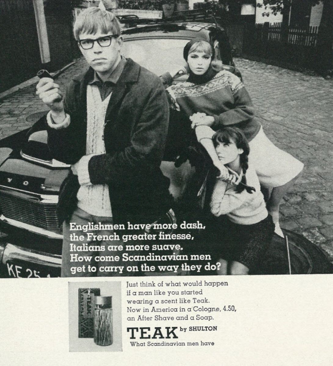 Vintage ad spotlighting teenage guys cologne.